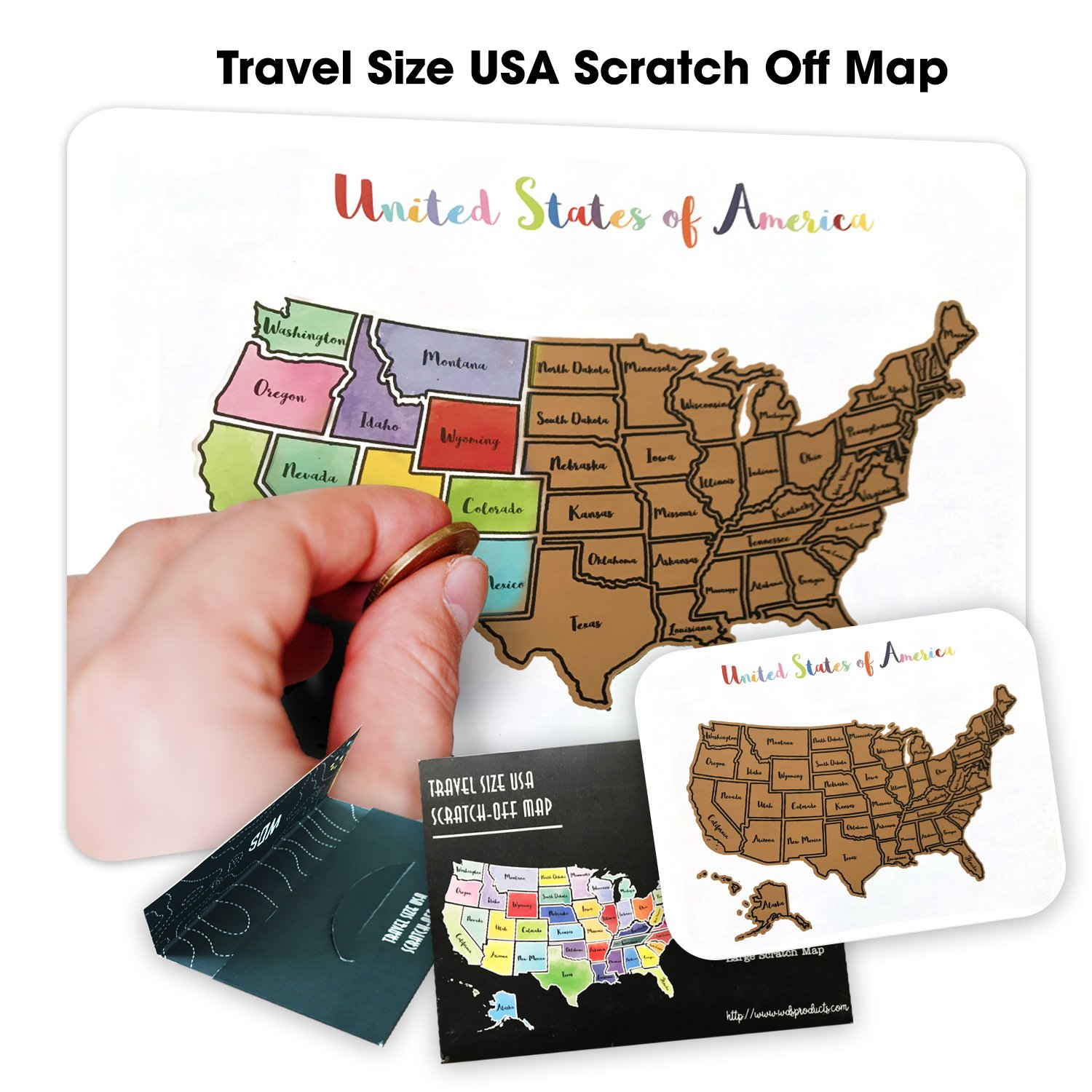Travel Size USA Scratch Off Map - Play The License Plate Game for Kids During Car Ride Vacations & Travel - No-Bend Card Stock - Track The US 50 States - Safe Rounded Corners by WDS