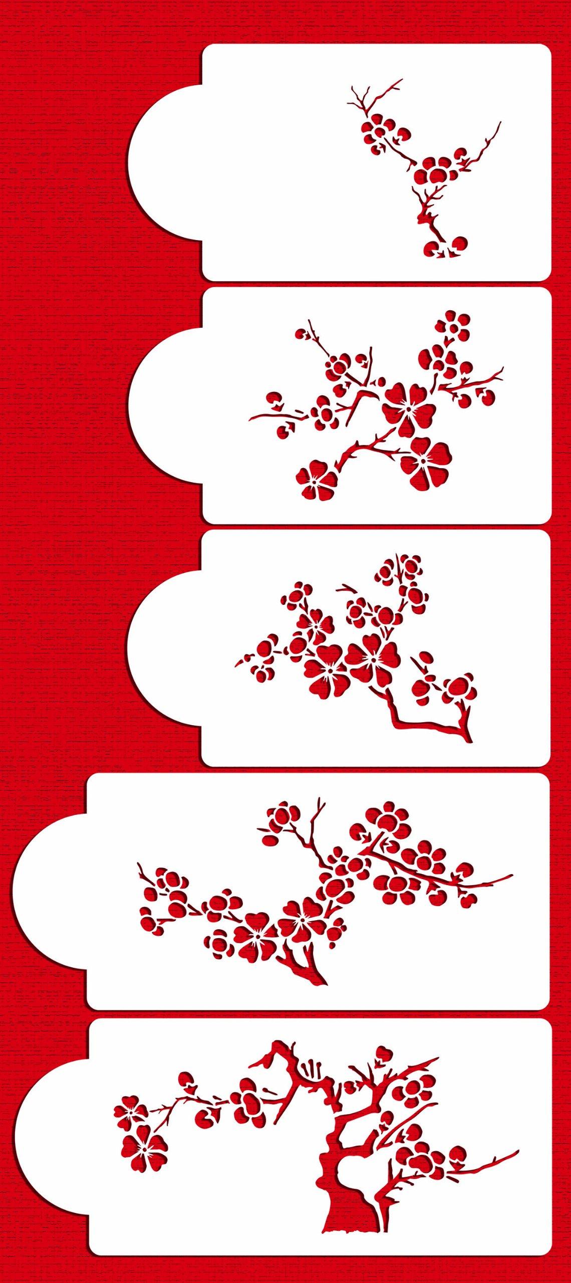 Designer Stencils C440 Blooming Cherry Tree Cake Stencil Set, Beige/semi-transparent by Designer Stencils (Image #1)