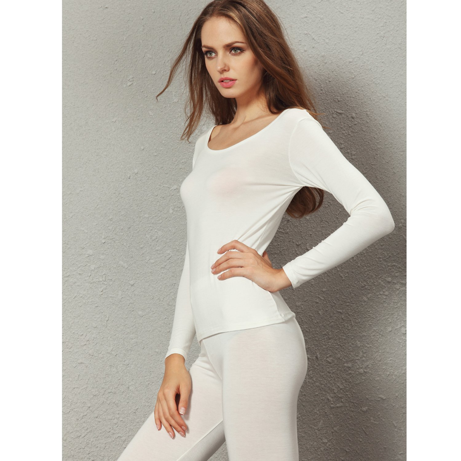Liang Rou Womens Scoop Neck Top /& Bottom Ultra Thin Thermal Underwear Set