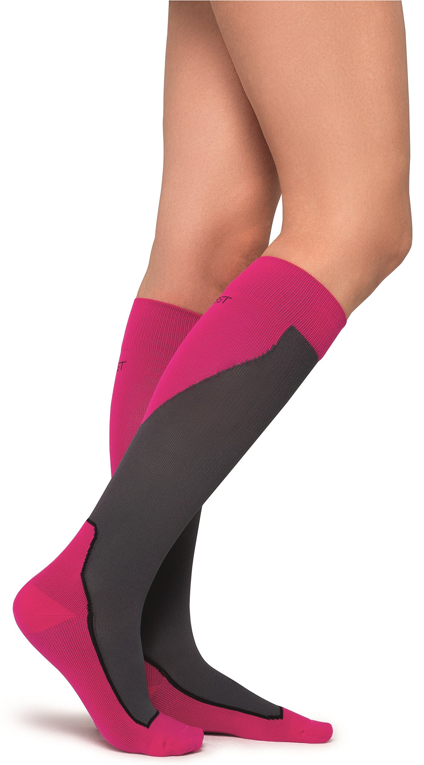 JOBST Sport Knee High 20-30 mmHg Compression Socks, Pink/Grey, Small