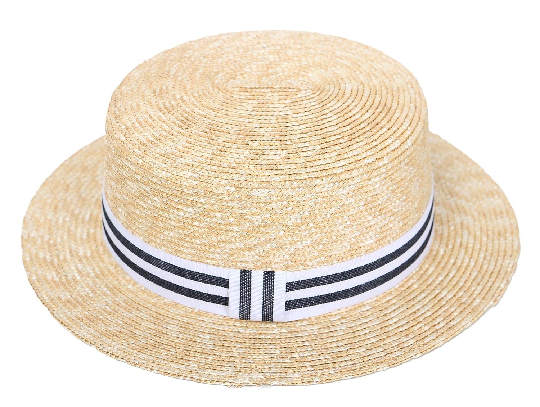 f431c606e127dd RIONA Women's Natural Straw Boater Hat Flat Top Summer Beach Sun Hat UPF 50+  (Black): Amazon.co.uk: Clothing