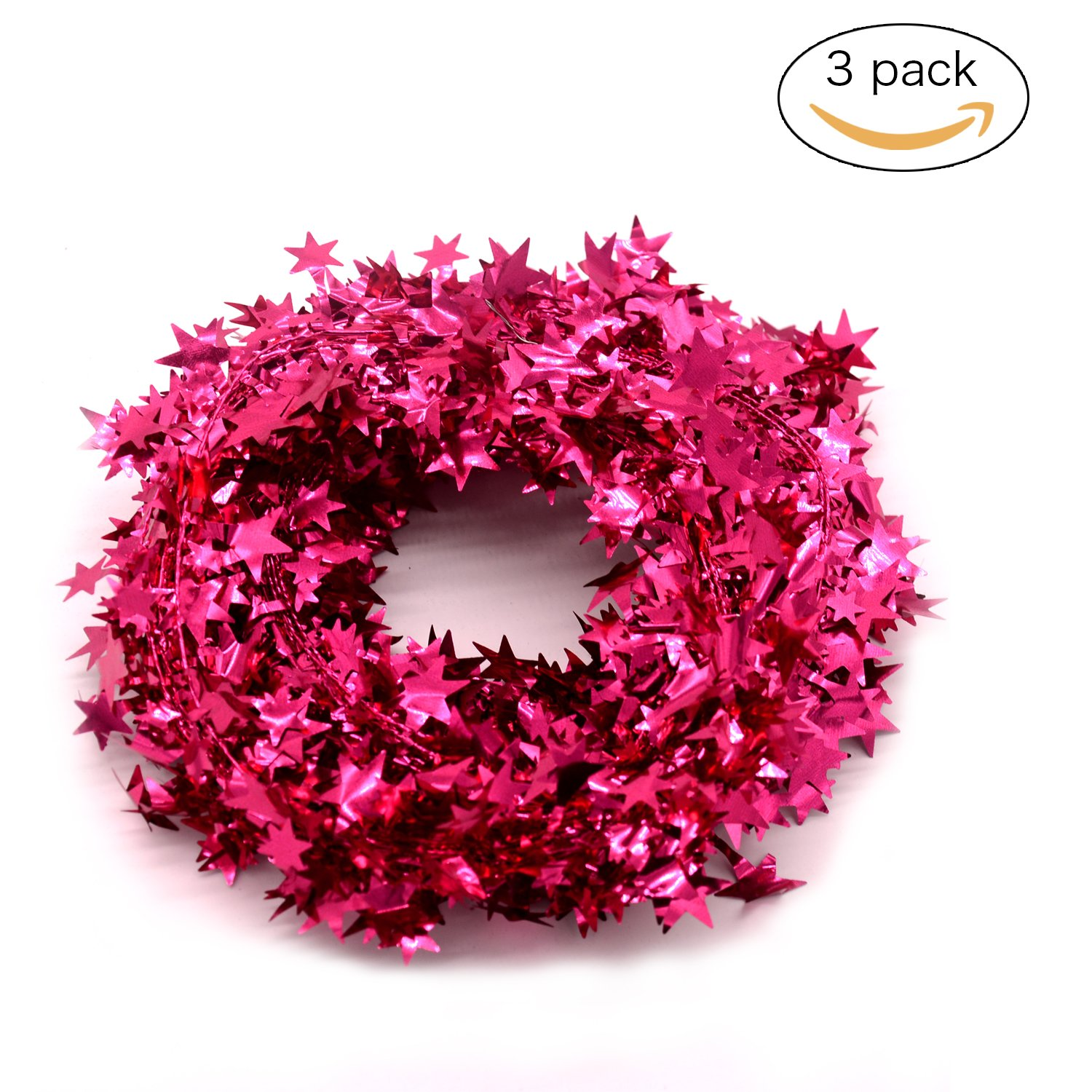 JINZAN 3PCS Wire Star Garland Tinsel Stars Garland Christmas Decorations Party Accessory,25 Ft x 3 (pink)