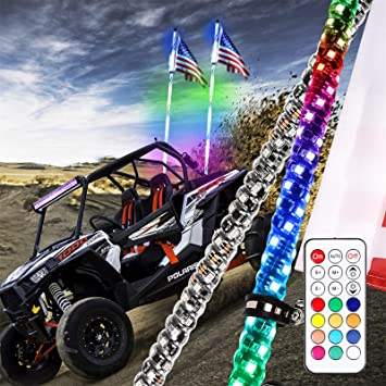 LED Whip Lights for UTV W//Flag Safego 2Pcs 2FT Light Whip Remote Controlled 360 Twisted Chasing Color Antenna LED Whips Watreproof Compatible with ATV Polaris RZR Off Road Truck Vehicle Dune 4X4