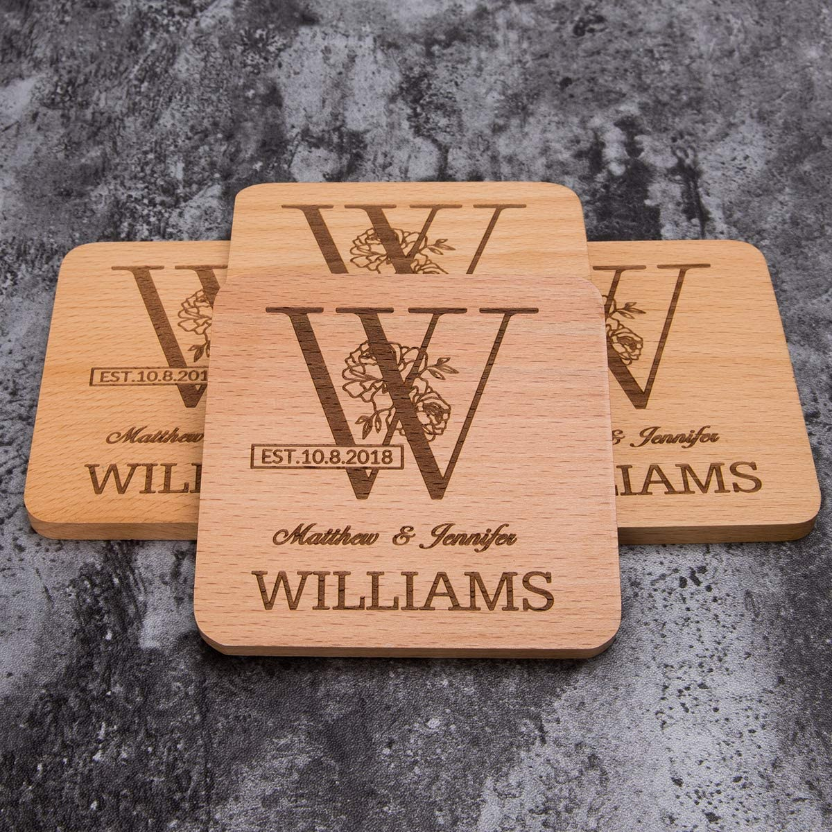 Personalised Music Notes Wooden Coaster Christmas Birthday Gift Present Xmas