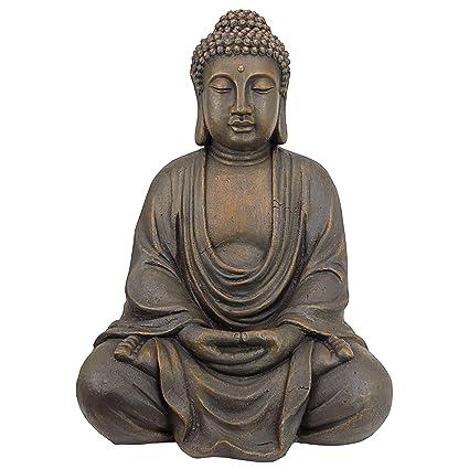 Design Toscano Meditative Buddha Of The Grand Temple Garden Statue, Medium  26 Inch, Polyresin