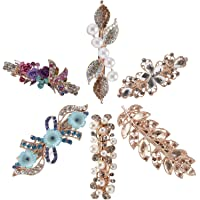 6 Pack Delicate Floral Jeweled Gems Crystal Rhinestone Pearl Glitter Sparkly Gold Metal Snap Hair Clips Hairpins Barrettes Clamps Hairpins Hair Holder Decorations Headpiece Accessories for Women Girl