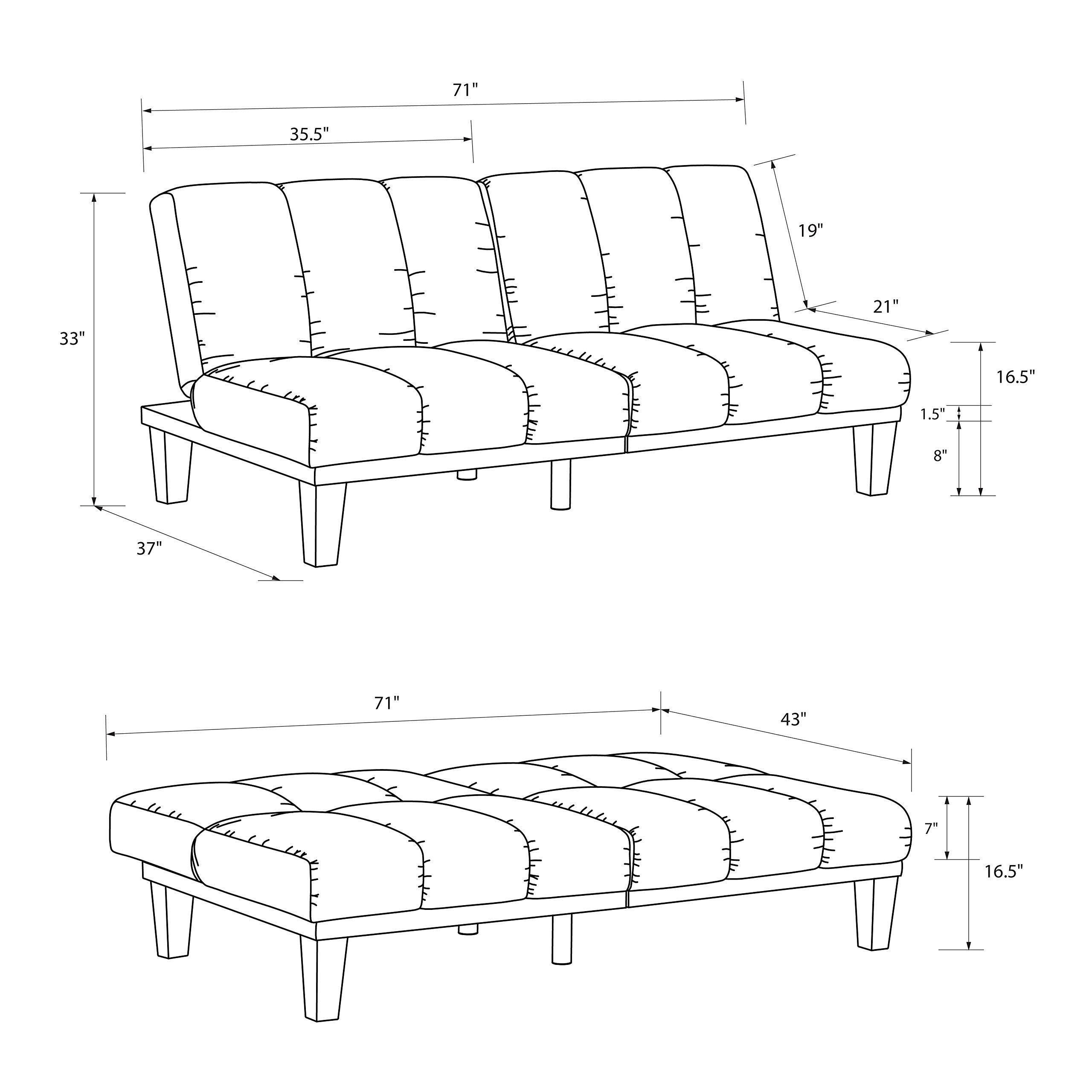 Hamilton Estate Premium Sofa Futon Sleeper Comfortable Plush Upholstery, Rich Black by DHP (Image #2)
