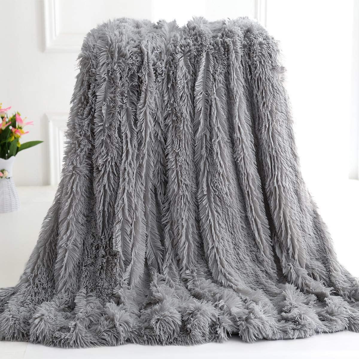 polar Throw-50x60 peluda Manta de pelo sint/ético s/úper suave para el sof/á y la cama acogedora y mullida Blanco de pelo largo Junovo