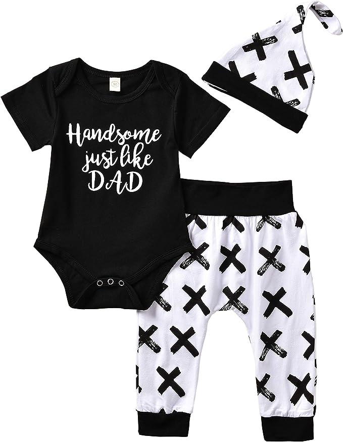 Kleinkinder Neugeborenes Baby Strampler Kleidung Sets Hosen Tops Hut Jumpsuit Outfit Body 3tlg