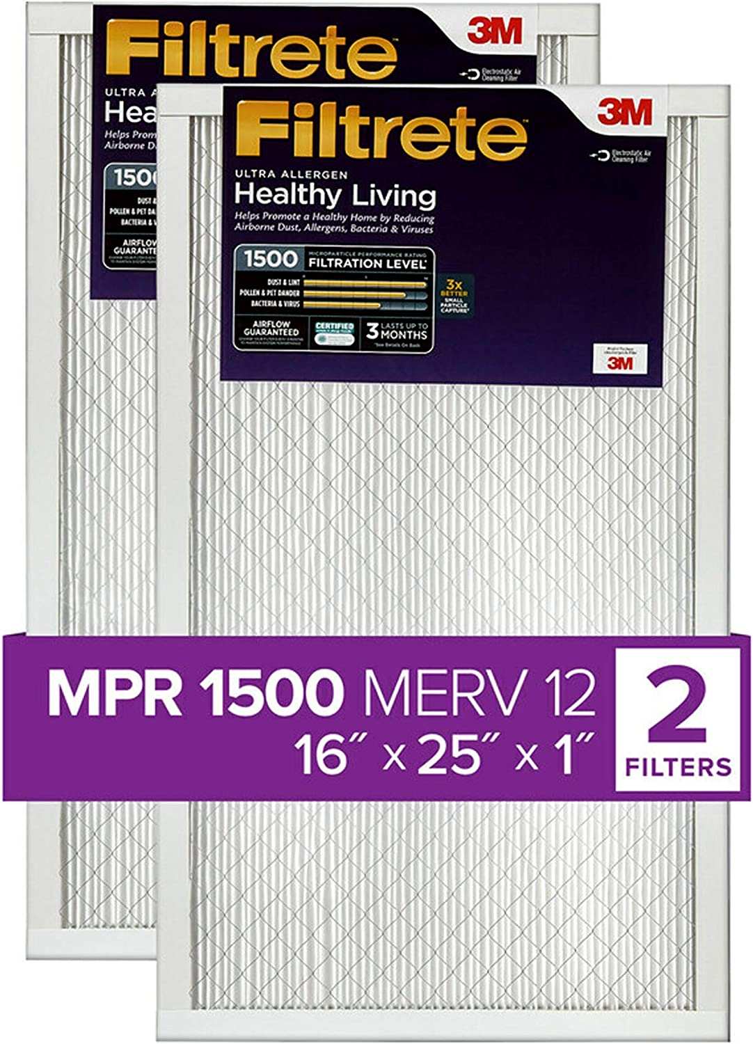 Nordic Pure 14x24x1 MPR 1500 Healthy Living Ultra Allergen Reduction Replacement AC Furnace Air Filters 1 Pack