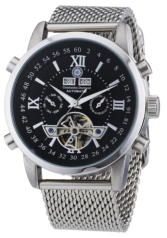 Constantin Durmont CD-CALE-AT-STM2-STST-BK - Reloj analógico automático para Hombre con Correa de Acero Inoxidable, Color Plateado