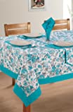 Swayam Libra Printed Cotton Six Seater Table Sheet - Turquoise (RDS16-60x90-2711)