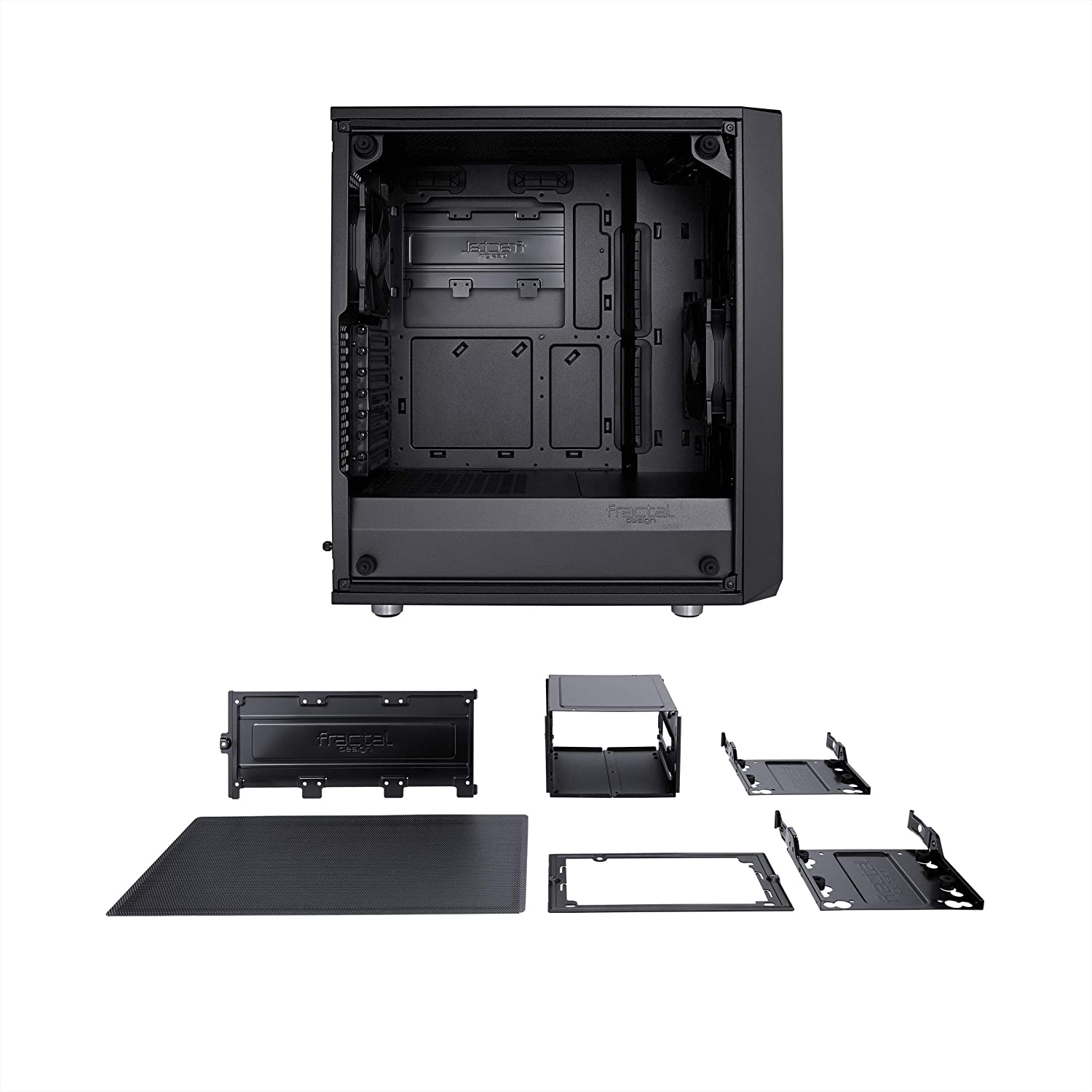 Water-Cooling Ready 2X Fans Included Tempered Glass PSU Shroud Compact Computer Case Modular Interior USB3.0 Blackout High Performance Airflow//Cooling Fractal Design Meshify C