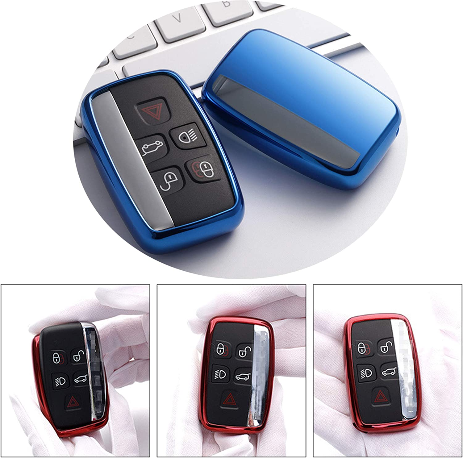Soft TPU Smart Key Fob Case Holder Jacket Protector for Range Rover Evoque Velar Sport Discovery Freelander2 LR4 Land Rover Sport and Jaguar XF XJ XE F-PACE F-Type Red