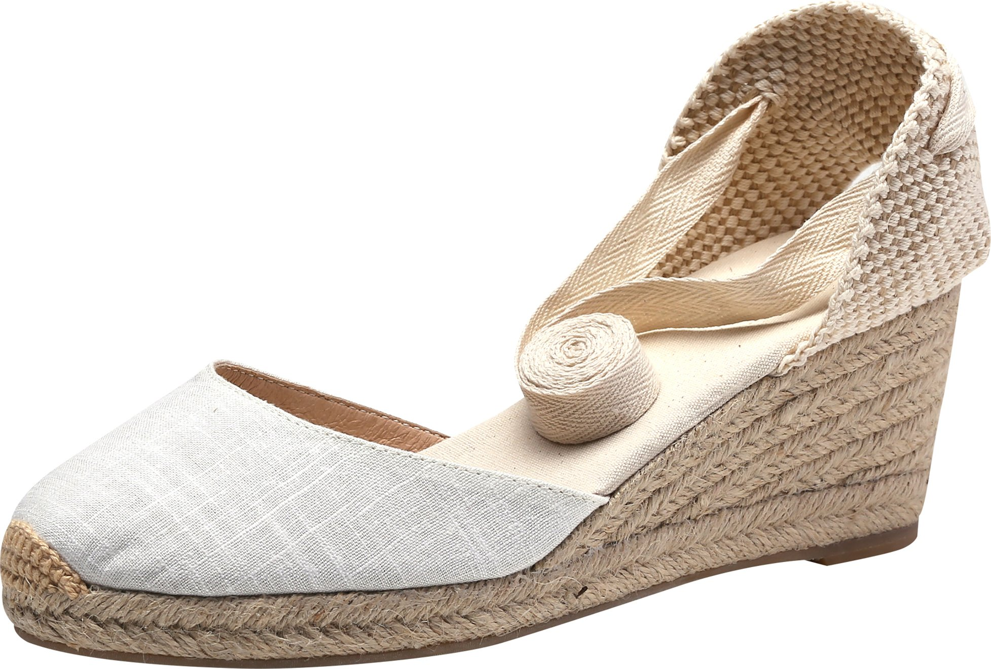 U-lite Women's Summer Leather Innersole Wedges Shoes, Ankle-Wrap Pompom Sandals White7