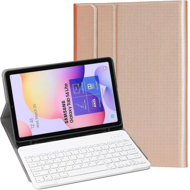 KILISON Samsung Galaxy Tab S6 Lite Funda Español Teclado Estuche [Diseño Español Ñ], [Ranura para S Pen] Wireless Bluetooth Teclado Cover para Samsung ...