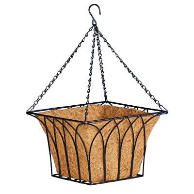 "Collections Etc Hanging Square Black Wire Frame Basket with Coco Liner - Display Flowers and Seasonal Arrangements - Two Sizes - Metal, Coconut Fibers - 12"" or 14"": Garden & Outdoor"