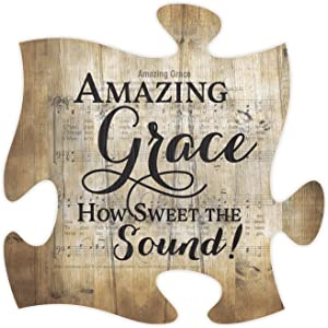 P. Graham Dunn Amazing Grace Sheet Music Design 12 x 12 Inch Wood Puzzle Piece Wall Plaque