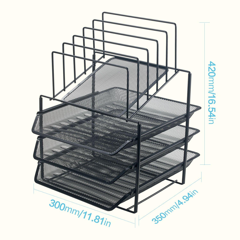Bonsaii Netz-Organizer, Schreibtisch-Organizer mit 3 Etagen und 5 Grünikalen Grünikalen Grünikalen Sortierfächern für Büro, Schule und Zuhause, Schwarz (W6428) cd96f4