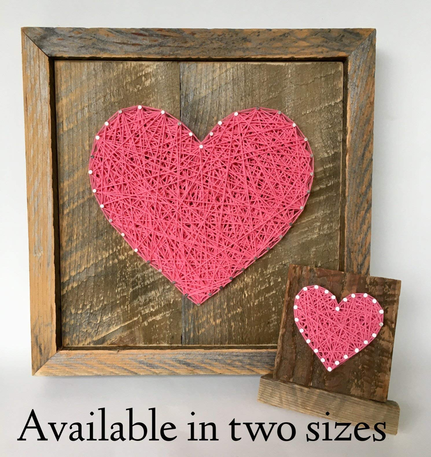Large framed pink string art heart reclaimed wood sign. A unique gift for Weddings, Anniversaries, Birthdays, new baby girl. housewarming and just because gift.