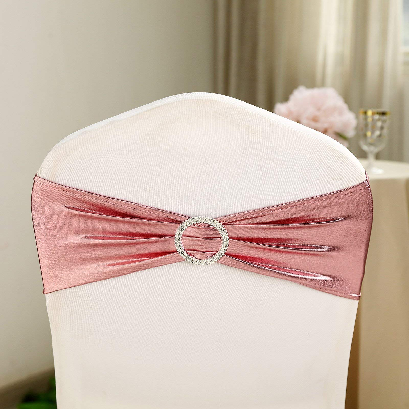 Efavormart 5 Pack Rose Gold Spandex Chair Sashes with Attached Round Diamond Buckles for Home Wedding Birthday Party Dance Banquet