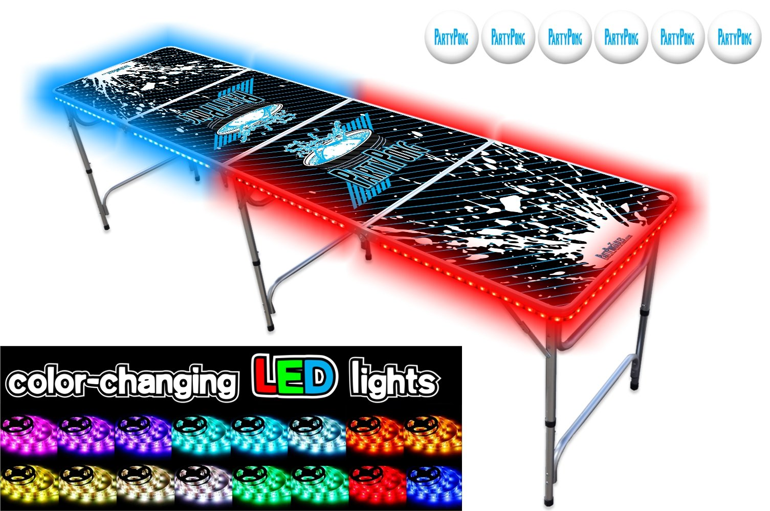 PartyPongTables.com 8-Foot Beer Pong Table with LED Glow Lights - Splash Edition by PartyPongTables