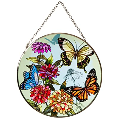 Amia 5681 Large Circle Suncatcher, Butterfly Design, 6-1/2-Inch, Hand-painted Glass : Garden & Outdoor