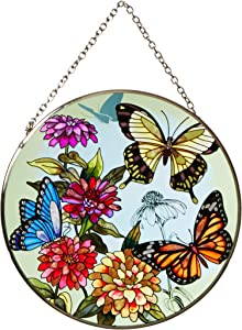 Amia 5681 Large Circle Suncatcher, Butterfly Design, 6-1/2-Inch, Hand-painted Glass
