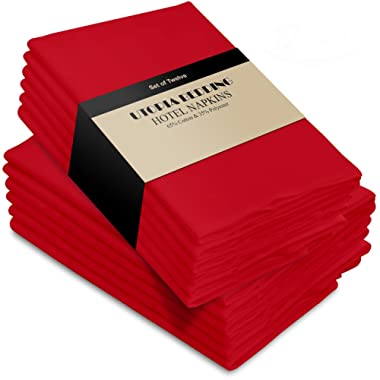 Utopia Bedding Cotton Dinner Napkins - Red - 12 Pack (18 inches x 18 inches) - Soft and Comfortable - Durable Hotel Quality - Ideal for Events and Regular Home Use