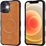 Arae for iPhone 12 Case and iPhone 12 Pro Case [Mag-Safe Wireless Charge] Leather Back Shockproof Hybrid Phone Case - Brown