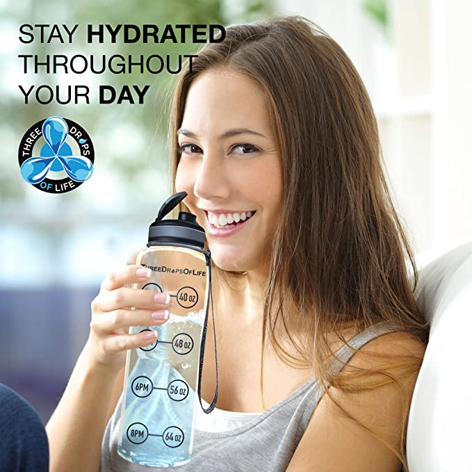 Non-Toxic Best for Measuring H2o Intake Hydration Drink Marker Helper Three Drops of Life COMIN18JU074287 Time Tracker w//Goal Timer Top Plastic Product New 32 oz Clear Sports Water Bottle Tritan BPA Free