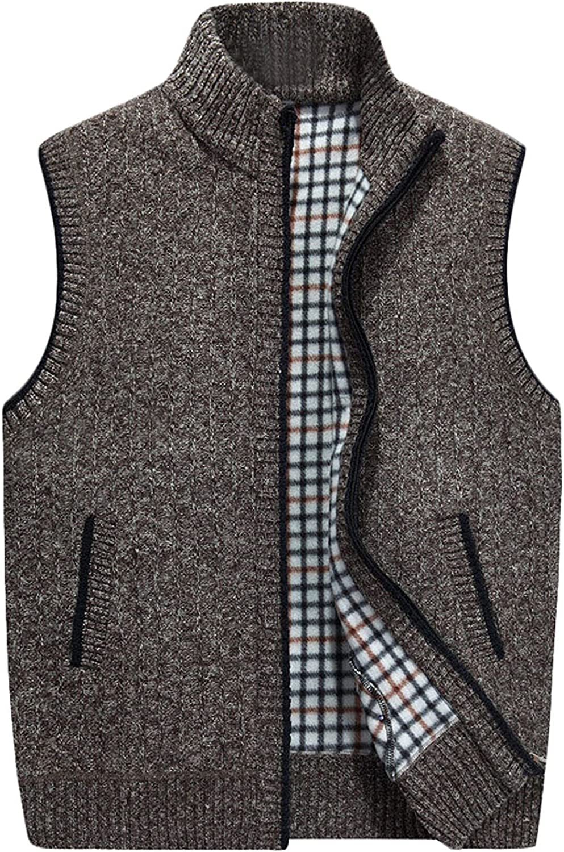 Pilusooou Mens Stand Collar Loose Zipper Sleeveless Knit Vest Jacke
