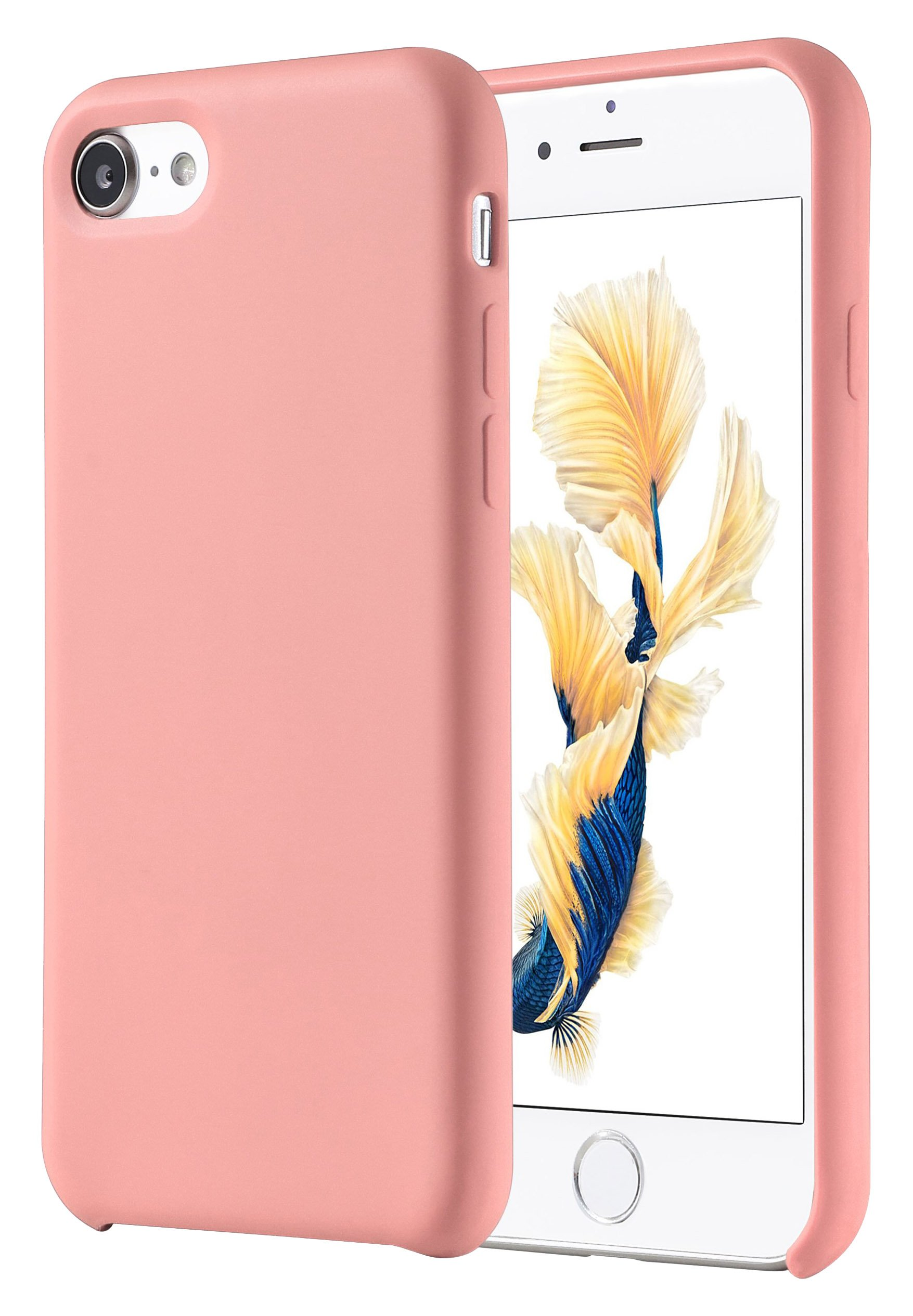 iPhone 7 Case, iPhone 8 Case, VIPFAN Liquid Silicone Gel Rubber Protective Shockproof Scratch-Resistant 4.7 Inch Cover with Soft Microfiber Cloth Lining Cushion(PINK)
