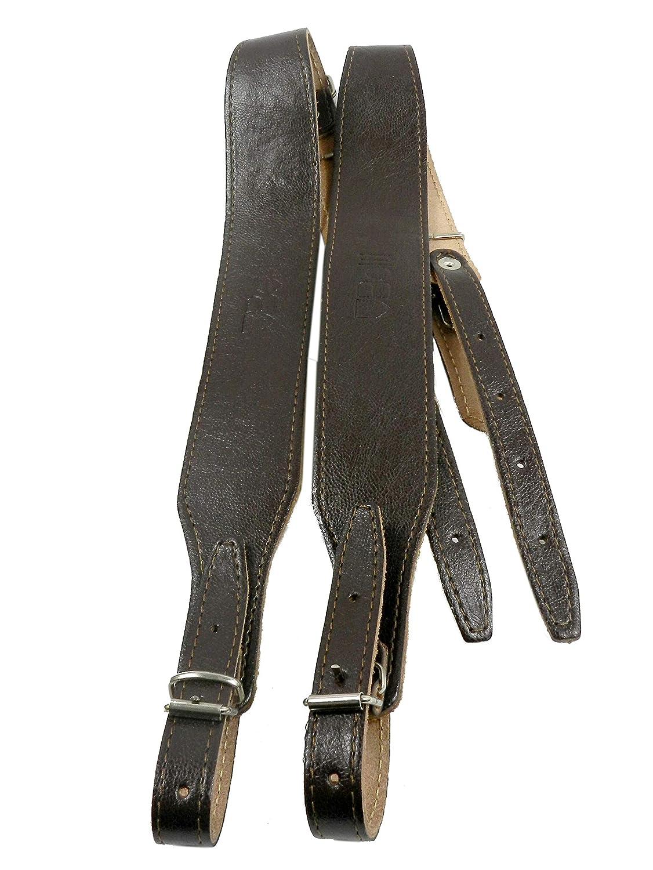 Paire de bretelles courroies en cuir, simples et réglables pour accordéon 80-120 marron foncé
