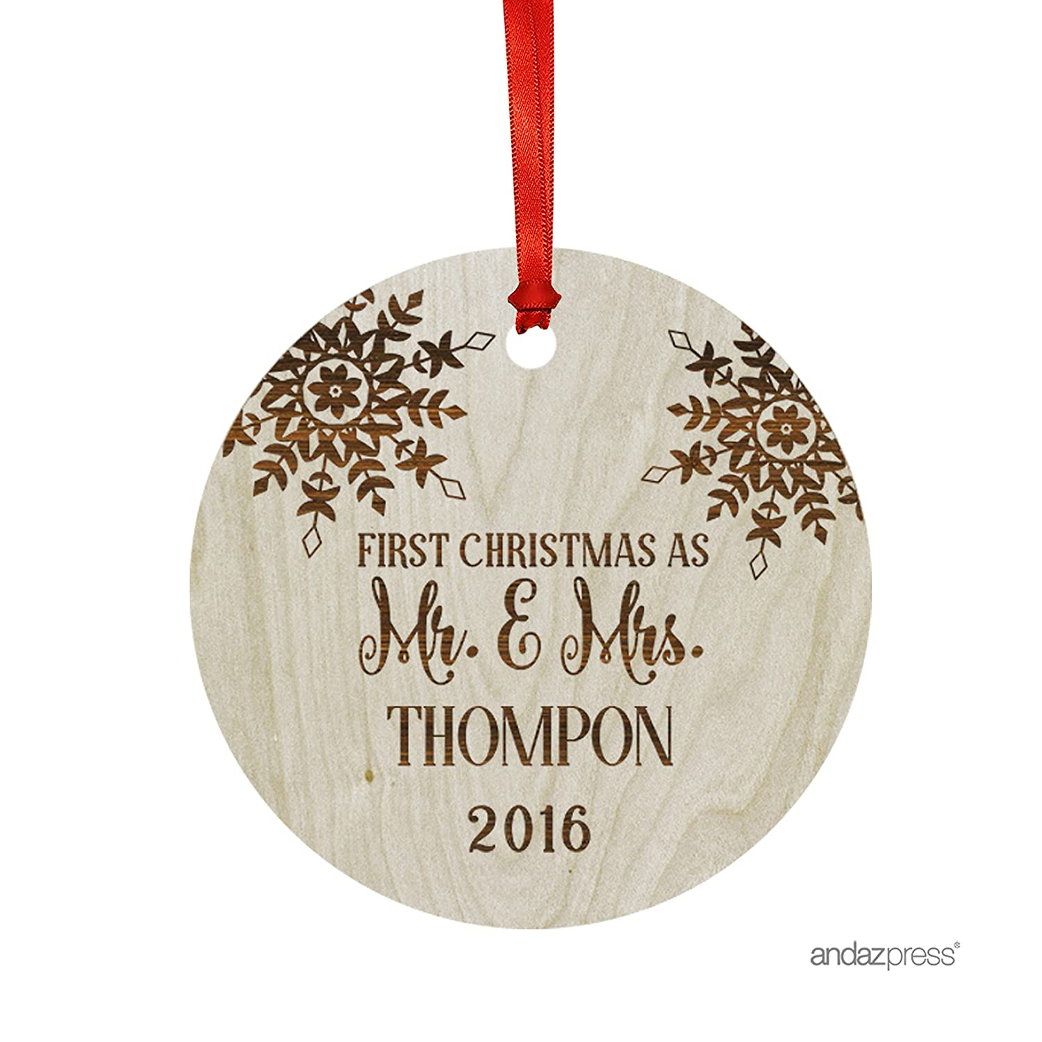 Amazon Andaz Press Personalized Laser Engraved Wood Christmas
