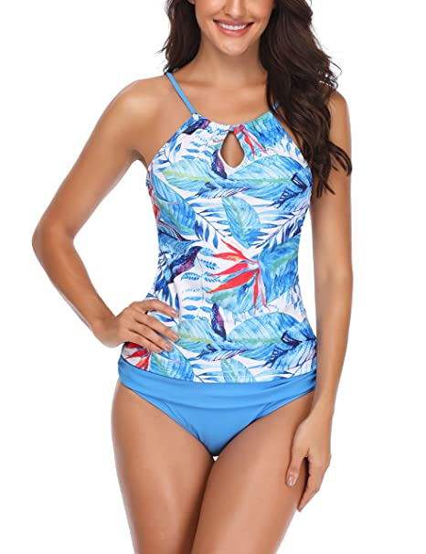 c1fd980d73 Memory baby Women Push up Padded Printed Sporty Tankini Swimsuits Bathing  Suit Blue Leaf S