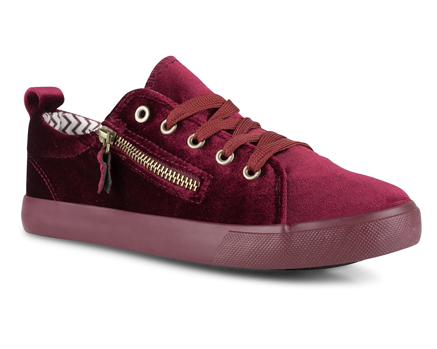 Twisted Women's Alley Faux Leather Fashion Sneaker with Decorative Zipper B074F3YX65 6.5 B(M) US|Burgundy Velvet