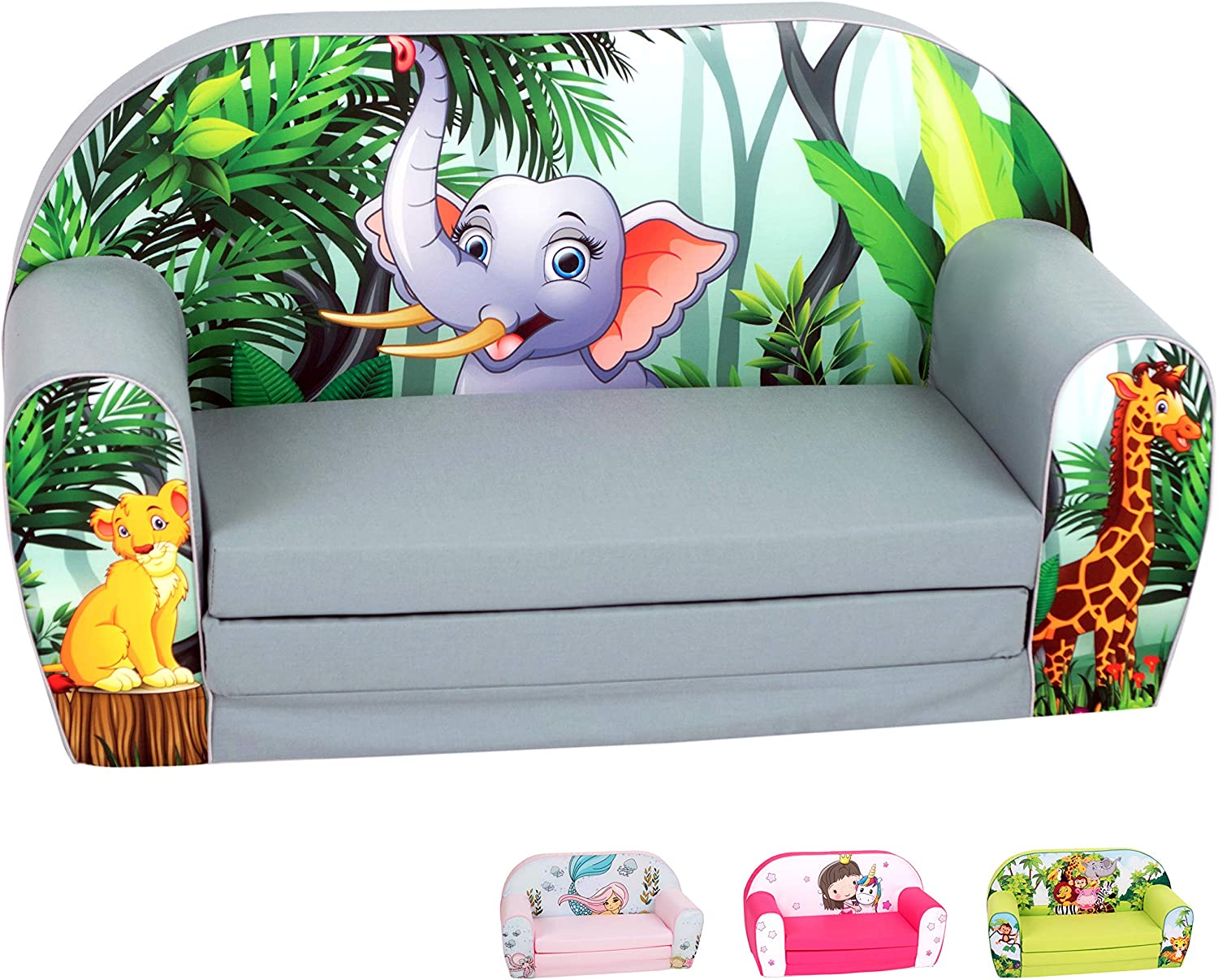 DELSIT Toddler Couch & Kids Sofa - European Made Children's 2 in 1 Flip Open Foam Double Sofa - Kids Folding Sofa, Kids Couch - Comfy fold Out Lounge (Adorable Elephant)