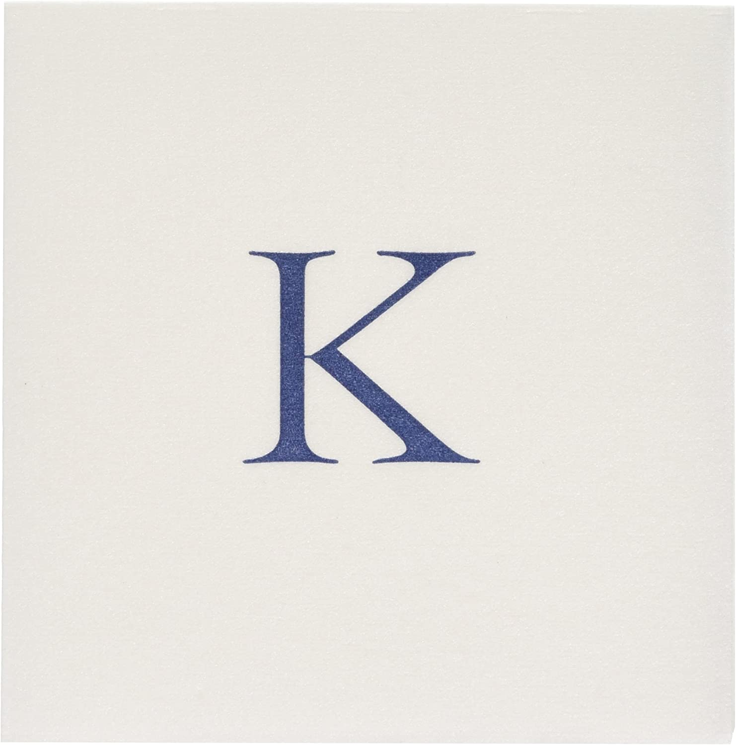 Entertaining with Caspari Navy Initial K Pearl Paper Linen Cocktail Napkins (30 Pack), White