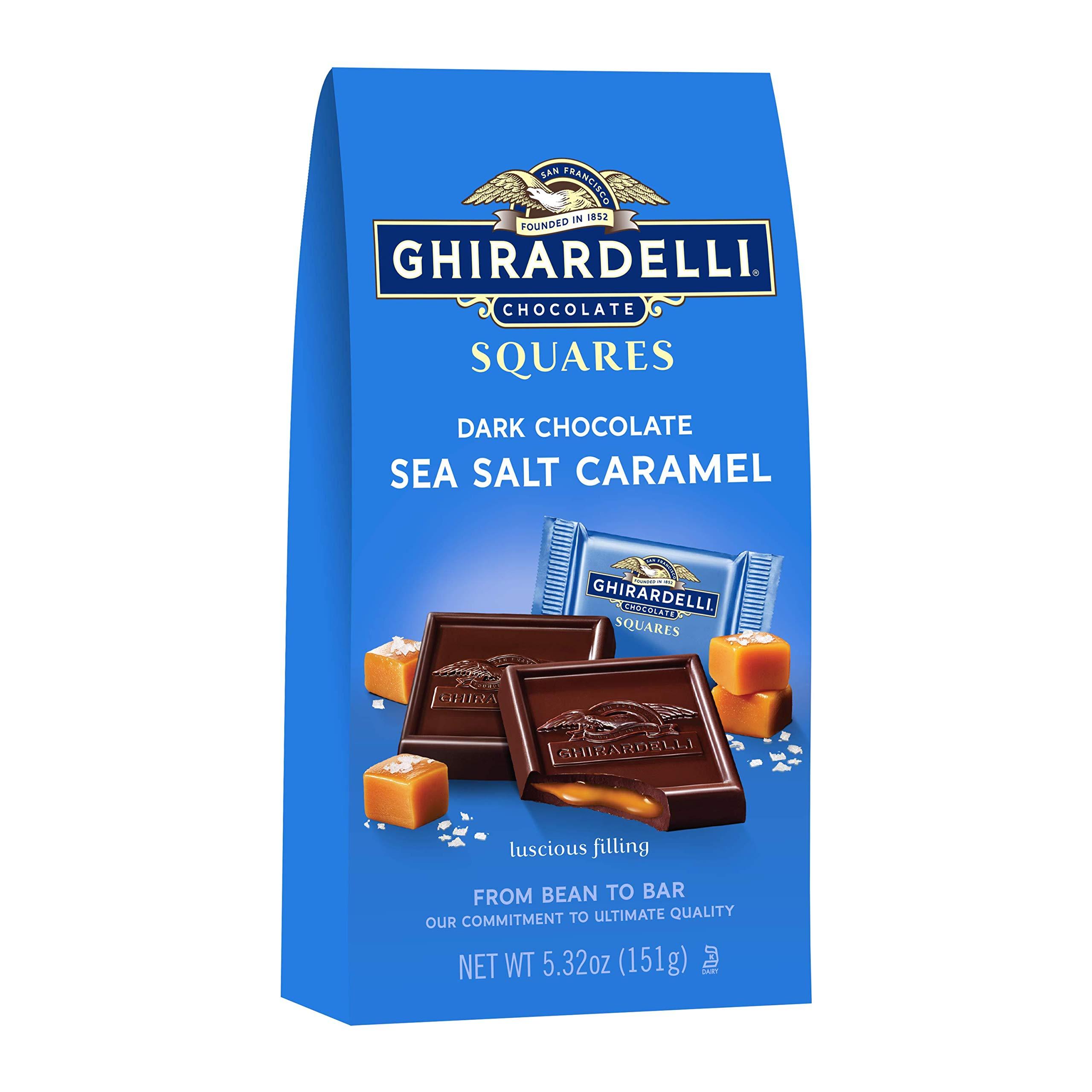 Ghirardelli Dark and Caramel Sea Salt Chocolate Squares Bag, 5.32-Ounce