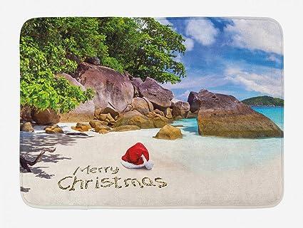 Pleasant Amazon Com Yvsxo Christmas Bath Mat Tropical Exotic Download Free Architecture Designs Saprecsunscenecom