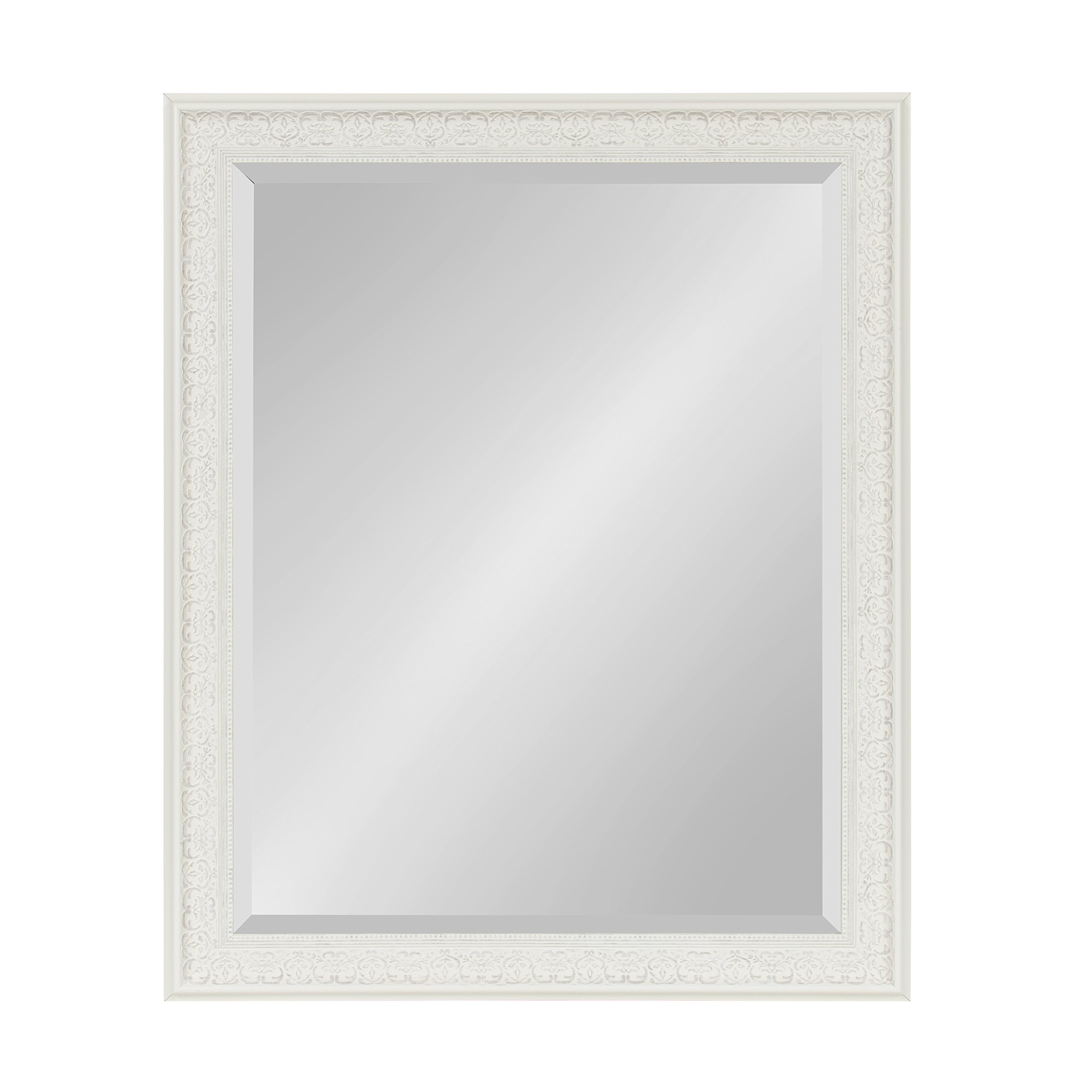 Kate and Laurel Alysia Large Decorative Frame Rectangle Wall Mirror, 26.5 x 32.5 White