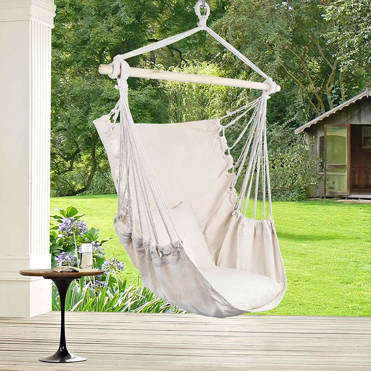AerWo Hanging Chair Large Hammock Chair Swing Seat, Hanging Swing Chair Cotton Weave for Superior Comfort & Durability Perfect Indoor or Outdoor Home Bedroom Patio Yard Garden, (2 Seat Cushions)