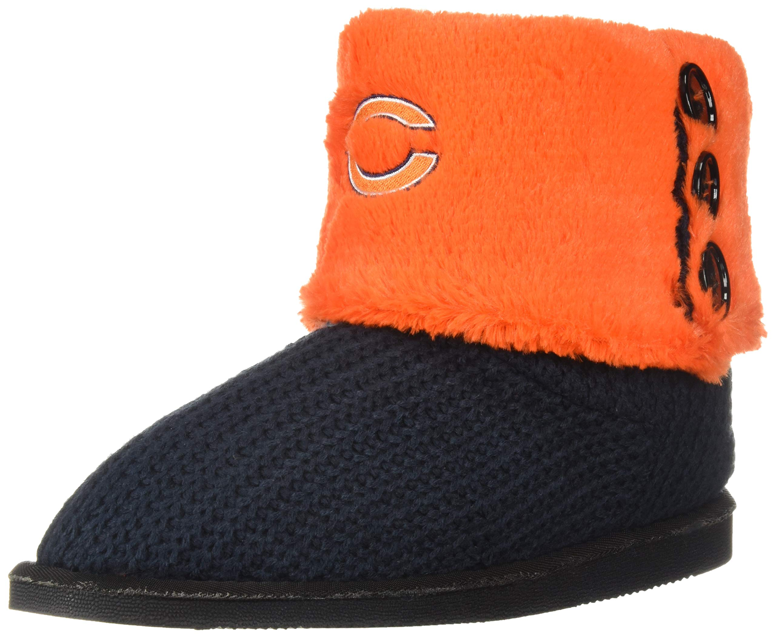 Chicago Bears Knit Team Color High End Button Boot Slipper Small