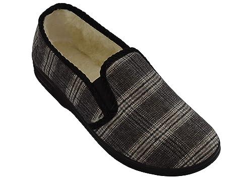 echte Schuhe hoch gelobt neu billig BeComfy Herren Filz Hausschuhe gefüttert Schurwolle Warme Hausschuhe Wollen  Filz Kariert für Männer 40,41,42,43,44,45,46