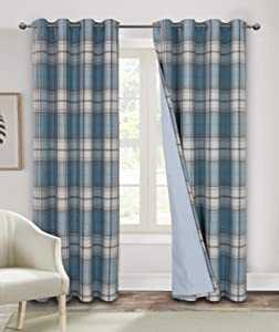 Blackout Curtains for Bedroom 63 Inches Long Room Darkening Plaid Check Living Curtains Striped Grommet Thermal Window Curtains 2 Panels Blue