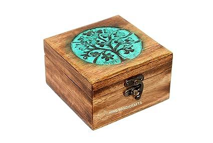 Caja de joyería de madera envejecida hecha a mano con grabado de árbol de la vida