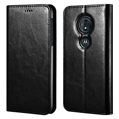 new product 379cd 17d5d MOTO G6 Play Wallet Case, ICARERCASE Vegan Leather Folio Flip Cover with  Kickstand and Credit Card Slots for MOTO G6 Play (2018) 5.7 Inch (Black)