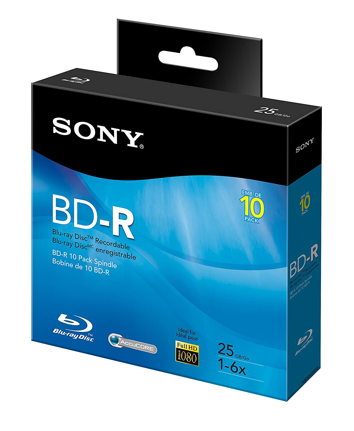 Sony 10BNR25RNS 6x 25GB Recordable Blu-Ray Disc - 10 Pack Spindle Sony Electronics Inc. - Media