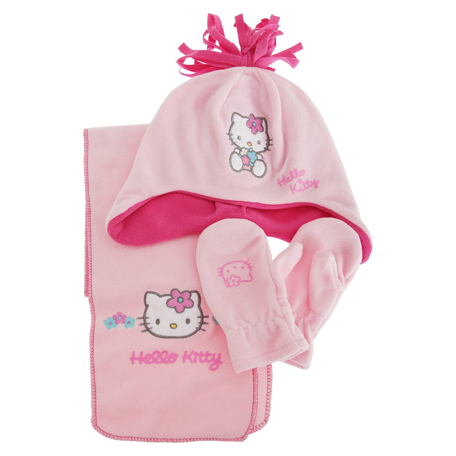 Hello Kitty Girls Winter Hat Scarf And Gloves Set (2-4 Years) (Pink) Universal Textiles UTGL594_1